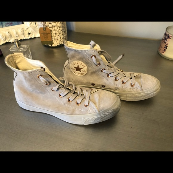 4e9b2208b7a Converse Shoes - Grey suede with rose gold detail converse all star